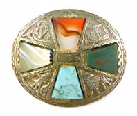 Vintage Miracle Celtic Scottish Style Shield Brooch.